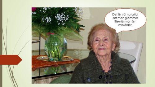 äldre kvinna som undrar om det är naturligt att glömma